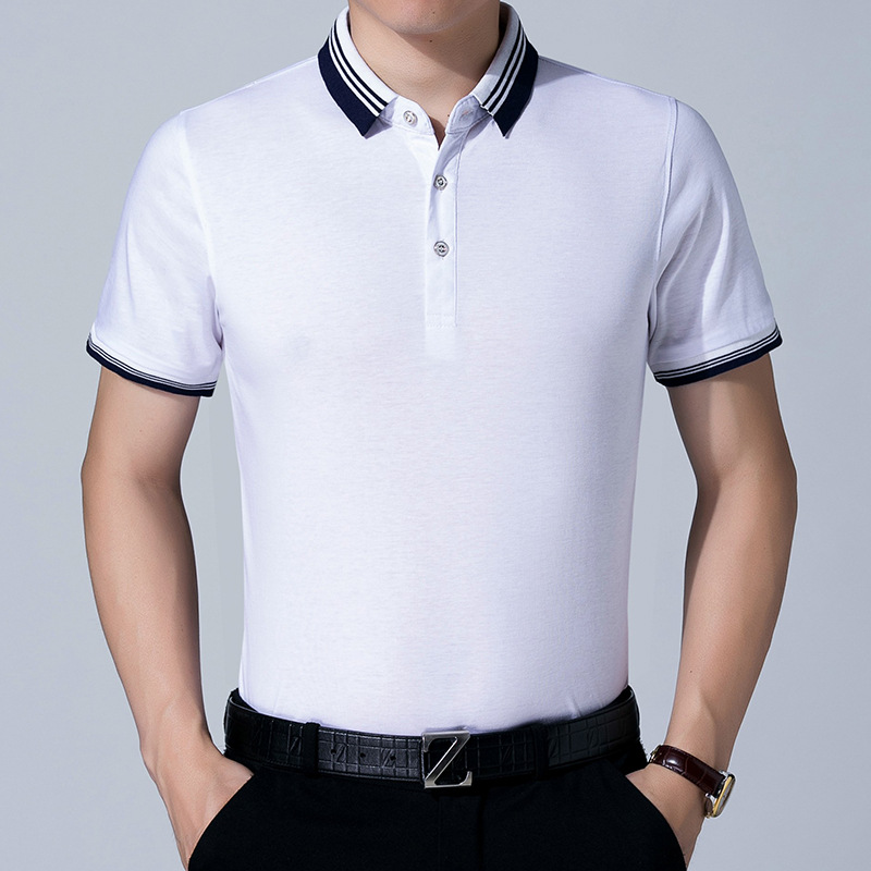 2018 New Men Slim Polo Pique Stretchy Polo Shirt Men Stripes Ribbed Collar Tops  Short Sleeve Tee Shirt Camisa Masculina-in Polo from Men s Clothing on ... 6105350591437