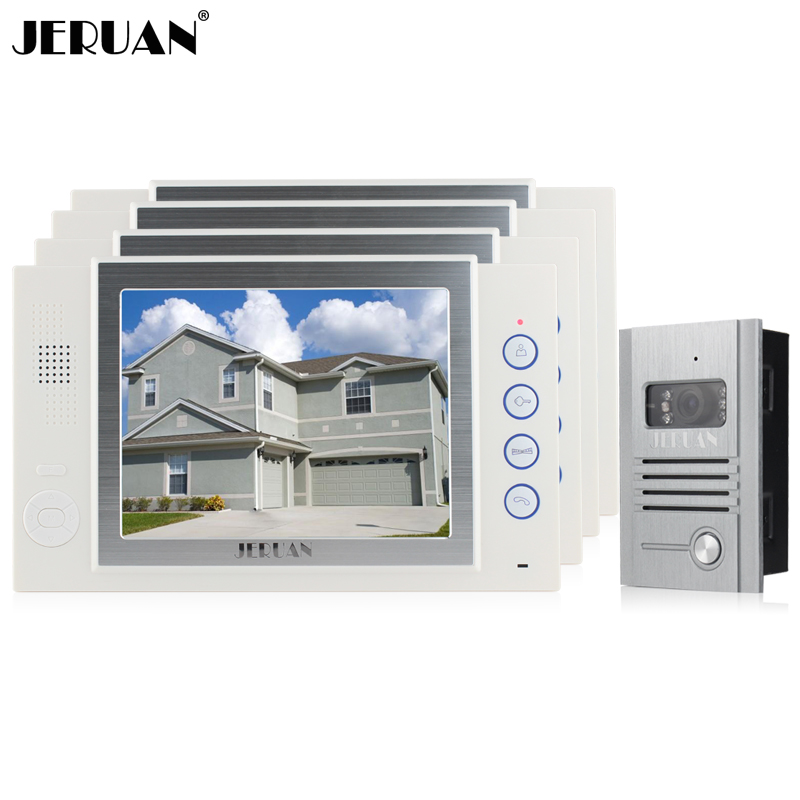 JERUAN Wired 8 inch TFT color Screen video door phone Record intercom system 4 monitor + Full Metal IR Night vision Camera tmezon 4 inch tft color monitor 1200tvl camera video door phone intercom security speaker system waterproof ir night vision 1v1