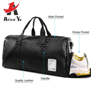 Gym Bag Leather Sports Bags Big Men Training Tas for Shoes Lady Fitness Yoga Travel Luggage Shoulder Black Sac De Sport Handbags