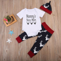 Newborn Baby Boys Clothes Mommy's Romper Jumpsuit + Pants Hat Outfits Set