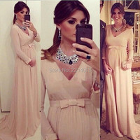 New Arrival 2016 Sexy V Neck Long Sleeves Chiffon Ruched Natural Waist Bowknot Elegant Pregnant Prom