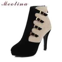 Meotina Women Boots Winter Shoes Buckle High Heel Boots Ankle Boots Plus Size 9 41 42 Zip Autumn Women Footwear Blue Black Red