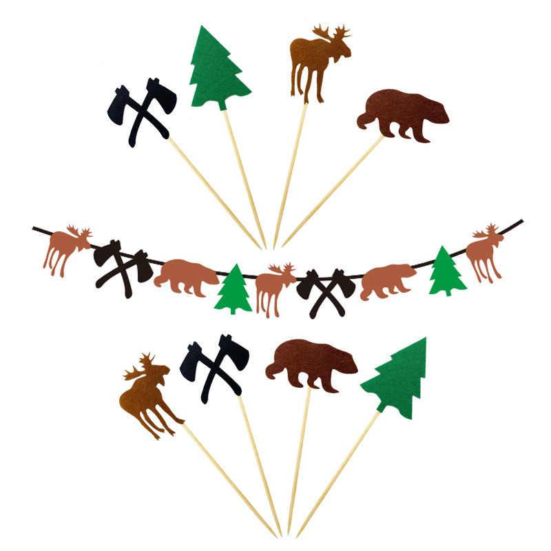 Crianças Menino Da Bandeira do Aniversário Lenhadores Marrom Alces Urso Lenhador Garland Bunting para o Tema da Festa de Aniversário Decoração