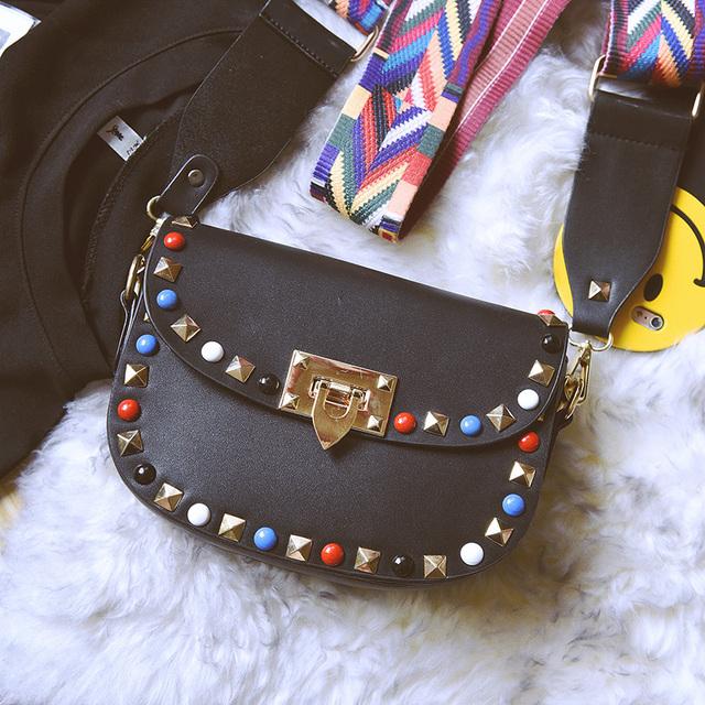 MINI 2017 Vintage Rivet Bags Handbags Women Famous Brand pu Leather Luxury Women Bags Designer Crossbody Ladies Shoulder Bag SAC