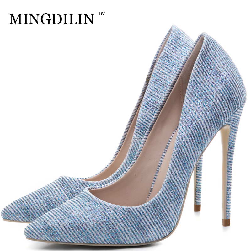 MINGDILIN Sexy Women's High Heels Shoes Silver Gold Wedding Party Woman Heel Shoes Plus Size 33 43 Pointed Toe Pumps Stiletto 12 11cm funny sexy witch lady gir sexy witch lady car stickers car sticker decals black silver blue yellow ct 585