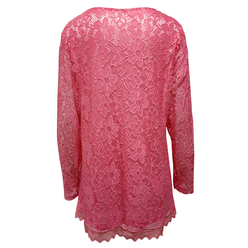 Image 3 - YTL Women Plus Size Retro Solid Pink Floral Lace Blouse Long Sleeve V Neck Crochet Tunic Top Ladies Shirts Tee 6XL 7XL 8XL H026ladies shirtstops ladiesfloral lace -