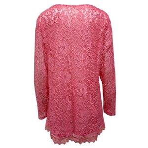 Image 3 - YTL tunique rétro en dentelle florale rose unie chemisier manches longues col en V Crochet, grande taille t shirt pour femmes 6XL 7XL 8XL H026