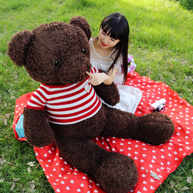 stuffed plush toy large 120cm dark brown teddy bear plush toy bear doll soft hugging pillow Christmas gift b1267 retail 1 piece 9 23cm mr bean bear teddy doll animal stuffed plush toys brown figure kid christmas birthday gift