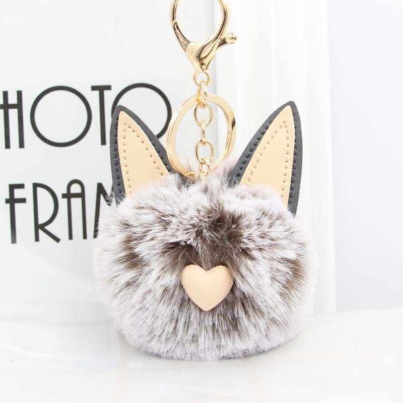 Bonito gato coração chaveiro pompom coelho bola chaveiro fofo pompom pompom chaveiro feminino chaveiro saco do carro encantos chaveiro n2735