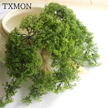 Forest Department Simulation Plastic Moss Fake Green Plant Wall Hanging Flower Home Living Room Window Sill Decorative Plant(China)
