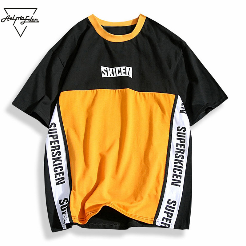 Aelfric Eden Hip Hop Skateboard Baseball Shirt Men Letter Print Patchwork Color Purple Casual T Shirt Cotton Tees T-shirts PA208