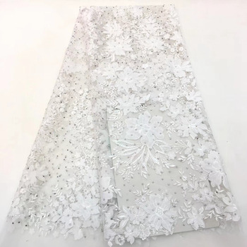 FolaSade High Quality Nigerian Rhinestones Lace 2019 Latest African Lace Fabric With Embroidered Mesh Tulle Lace Fabric TZ079