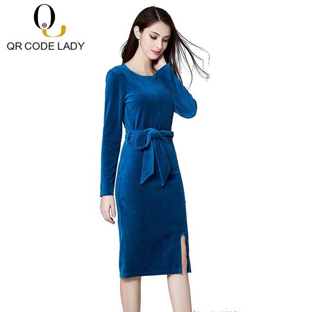 QR Spring Velvet Dress Women 2019 Casual Plus Size Office Pencil Bodycon Dress  Female Elegant Sexy Split Long Party Dresses 4XL 83408eb528d7