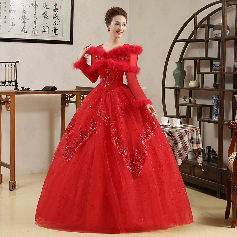 red feather collar beading long sleeve ball gown Medieval dress Renaissance Gown princess Costume Victoria /Marie/Belle ball