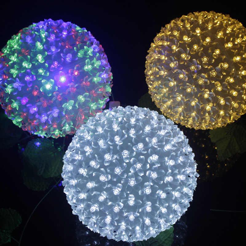 Диаметр 9/15/20/30 см светодиодный Cherry Blossom Цветок String шар света лампы переменного тока 220 В праздник Рождество Свадебные вечерние Сакура Гирлянда Декор
