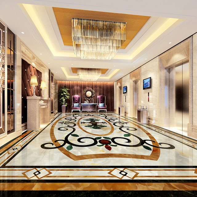 Benutzerdefinierte 3D Boden Aufkleber Marmor Teppich Blumenmuster Boden  Wandhauptdekor Wasserdichte Selbstklebende Wohnzimmer Boden Tapete