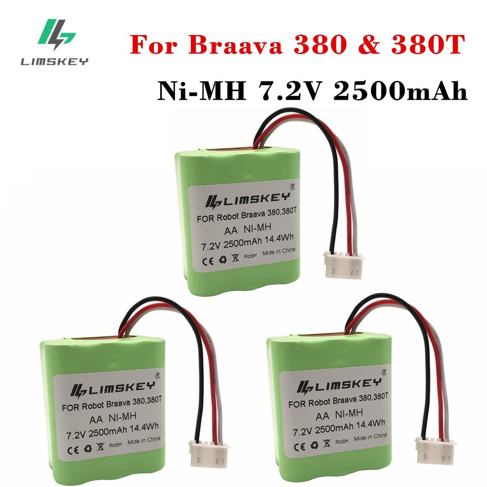 高品質3ピース7.2ボルト新2.5ah 2500 mahニッケル水素7.2ボルト充電式バッテリーアイロボットルンバbraava 380 380 t  グループ上の 家電製品 からの 交換電池 の中 1