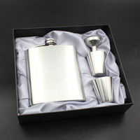 Stainless Steel Hip Flask Set Mini Wine Bottle 2Wine Cups Funnel Gift Set Pocket Pure Color