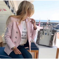 Luxury Pink Double Breasted Blaze Silver Embossed BUTTONS Slim Blazer Long Sleeves Buttoned Cuffs 2018 Woman