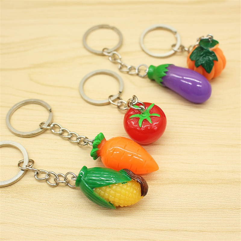 2019 Simulation Vegetables Carrot corn Tomato Eggplant Pumpkin Keychain Personality Creative Cute Small Gift Keyring 60pcs/lot