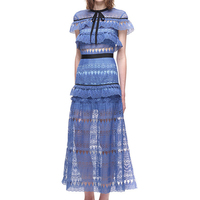 HANZANGL New Arrival Women Summer Dresses Fashion Designer Runway Lace Dress Hollow Out Party Blue Dresses