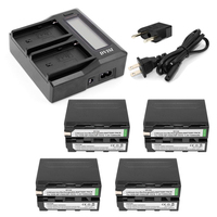 Ultra Fast 3X faster Dual Charger with 4pcs NP F970 F970 NP F960 Battery for Sony F975 F970 F960 F950MC1500C 190P 198P