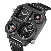 High Quality Sports Watches Leather Military Temperature Compass Design Big Dial Dual Time Quartz Oulm Luxury
