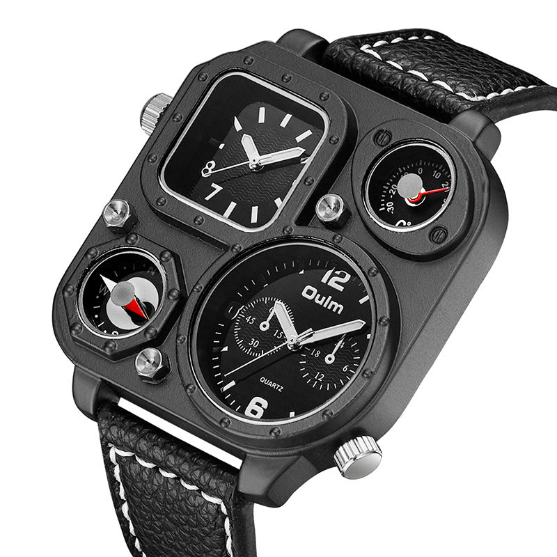 High Quality Sports Watches Leather Military Temperature Compass Design Big Dial Dual Time Quartz Oulm Luxury Watch Men relogio oulm men s quartz military wrist watch with dual movt compass
