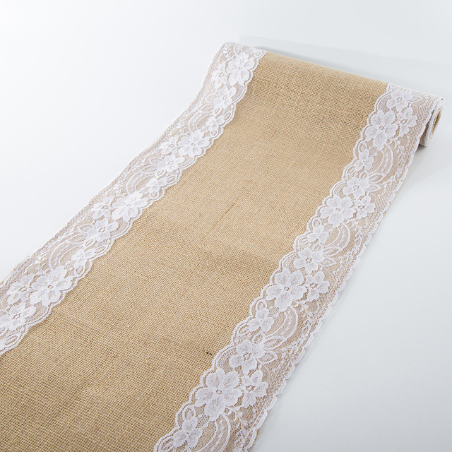European Classic Table Runner With White Lace Natural Linen Brown Table  Cover For Home Party Wedding