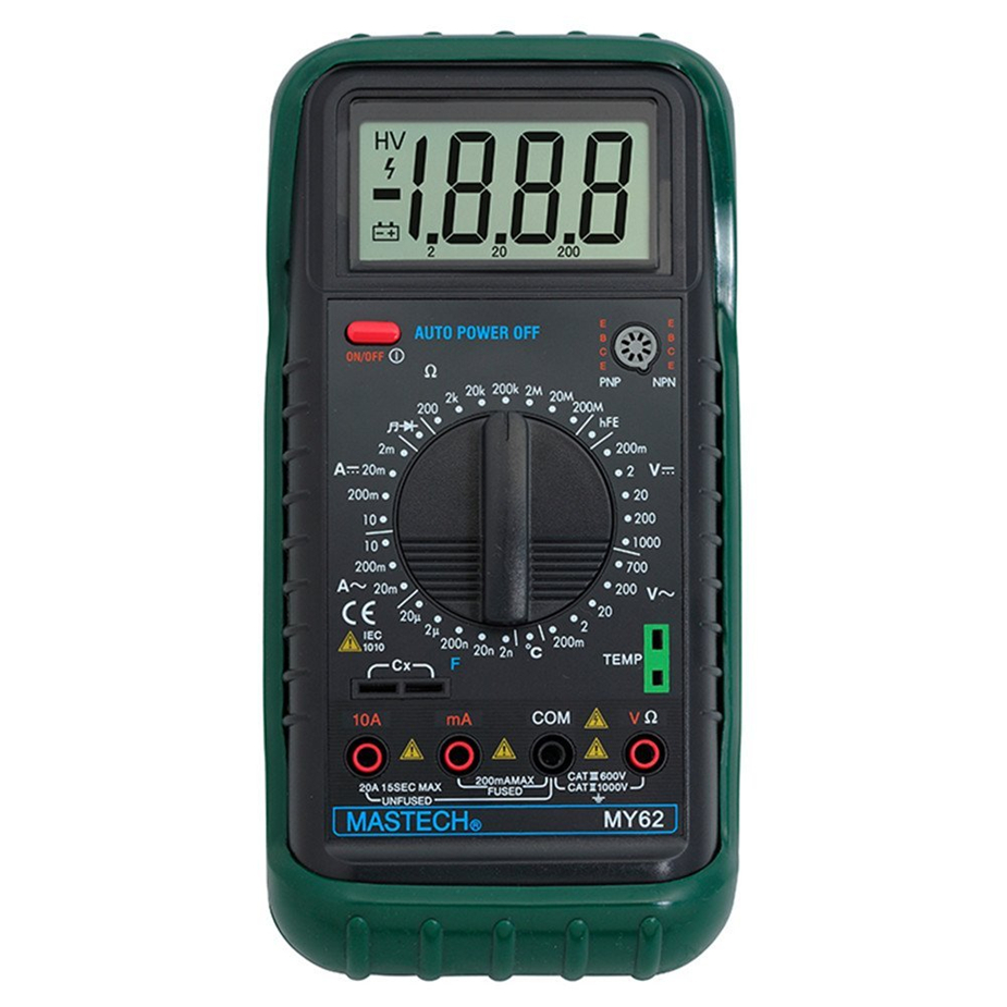 Selling MASTECH MY62 Digital Multimeter Handheld DMM w/Temperature Capacitance & hFE Test Testers Meters Ammeter Multiteste mastech ms8260g 2 5 lcd multimeter w test pencils for capacitance frequency temperature
