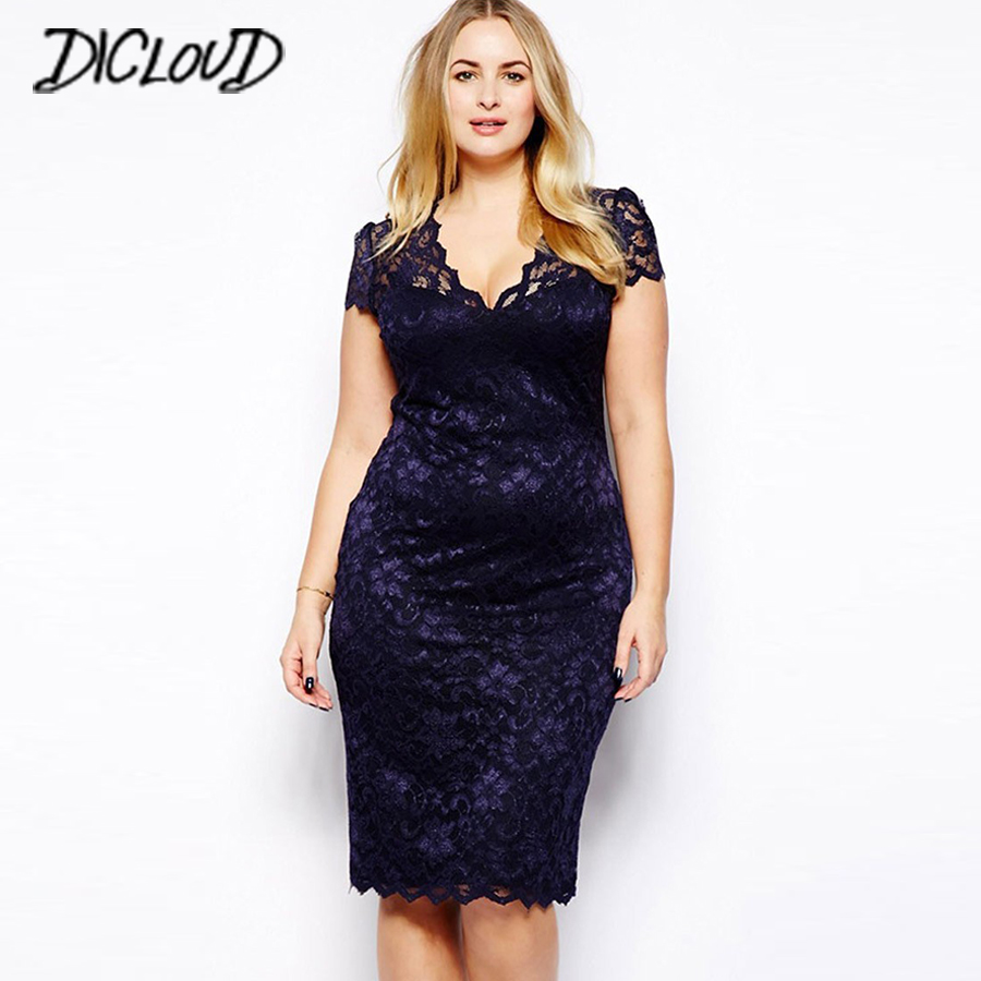 Lace <font><b>Dresses</b></font> Women <font><b>2018</b></font> <font><b>Sexy</b></font> V-Neck <font><b>Bodycon</b></font> <font><b>Dress</b></font> Fashion Hollow Pencil <font><b>Dress</b></font> Plus Size High Waist Summer Vestidos 5XL image