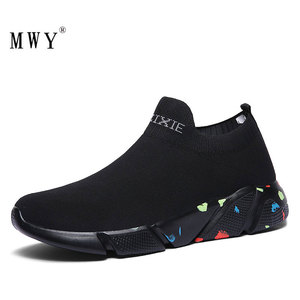 Image 1 - MWY Stretch tissu dames chaussettes chaussures Zapatillas Mujer Deportiva hommes femmes baskets basses antidérapant chaussures plates décontracté chaussures de marche