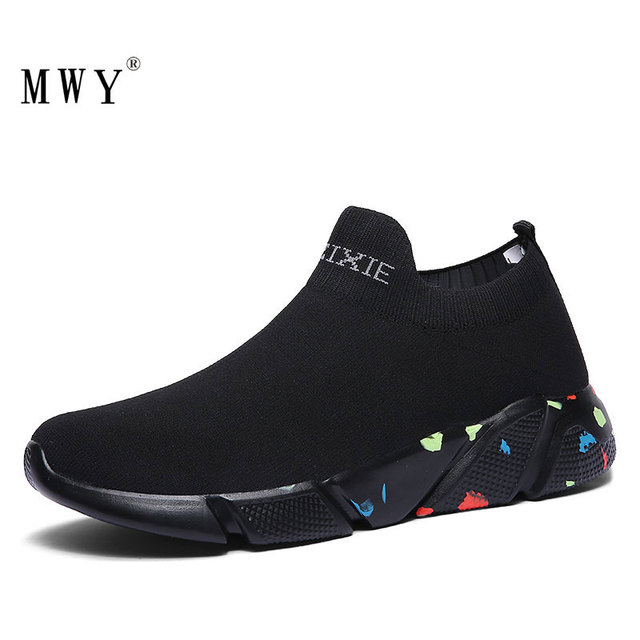 MWY Stretch tissu dames chaussettes chaussures Zapatillas Mujer Deportiva hommes femmes baskets basses antidérapant chaussures plates décontracté chaussures de marche