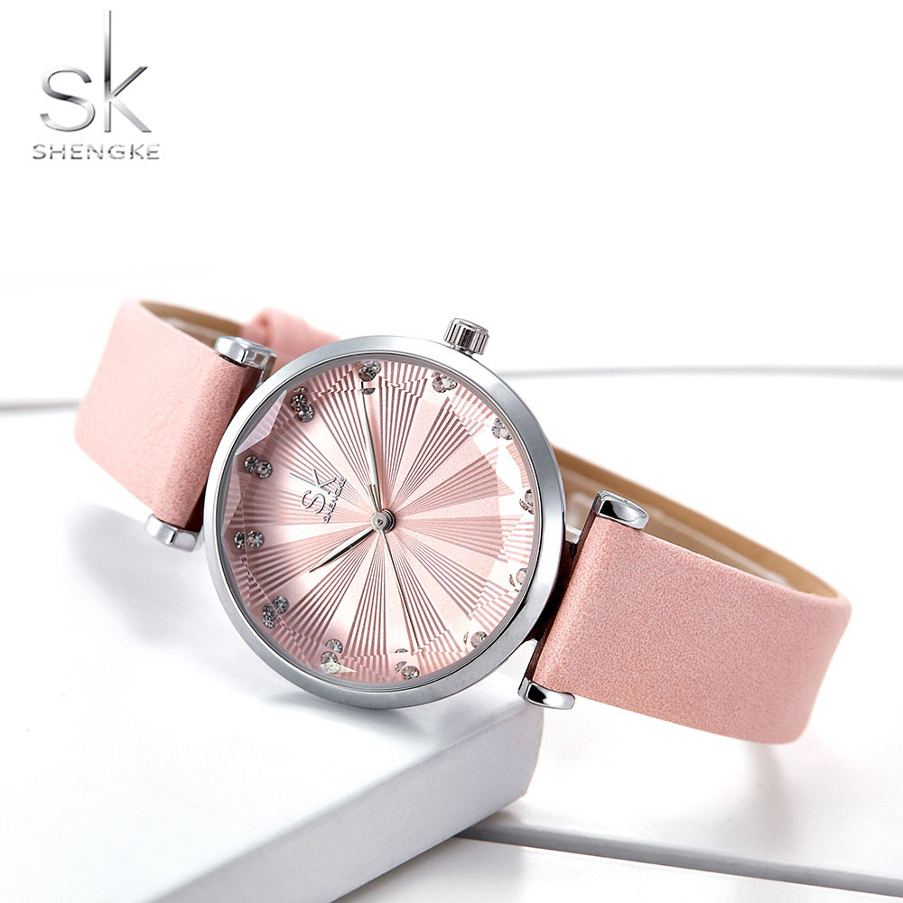 Shengke Women's Watches Luxury Ladies Watch Leather Watches For Women Fashion Bayan Kol Saati Diamond Reloj Mujer 2019
