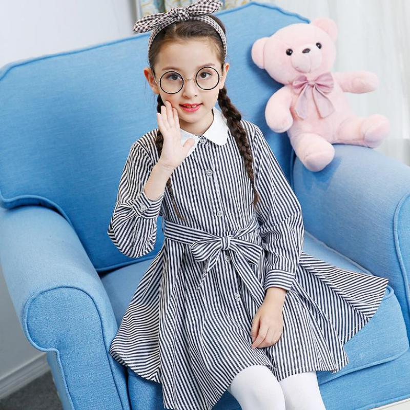 New Autumn Girls Princess Dresses In Preppy Style For Party School Uniform Girls Clothes Children Striped Dress Vestido Infantil fashion 2016 new autumn girls dress cartoon kids dresses long sleeve princess girl clothes for 2 7y children party striped dress