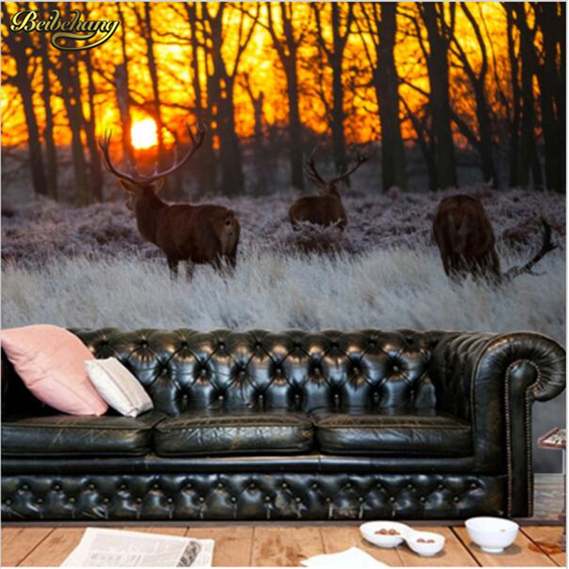 Beibehang large scale murals landscape painting forest for Deer landscape wall mural