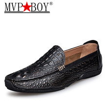 MVP BOY Luxury Brand Alligator Fashion Casual Men Shoes Genuine Leather Black Slip-on Loafers Dress Flats for Driving Party