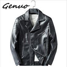 Genuo New Brand 2019 Autumn Winter Casual Zipper PU Leather Jacket Motorcycle Men Slim Fit Mens Jackets And Coats