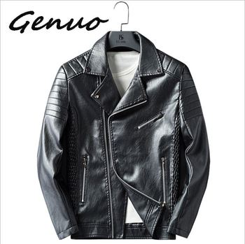 Genuo New Brand 2019 Autumn Winter Casual Zipper PU Leather Jacket Motorcycle Leather Jacket Men Slim Fit Mens Jackets And Coats цена 2017