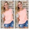 Конфеты Цвета Розовый Мода Плюс Размер Женщины Лето Жилет Топ блузка женская Кружева Повседневная Топы Дамы Кружева С Коротким Рукавом блузка