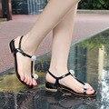 Лето 2017 новый T тип плоский каблук летняя обувь алмаз большой размер пряжки женщин сандалии