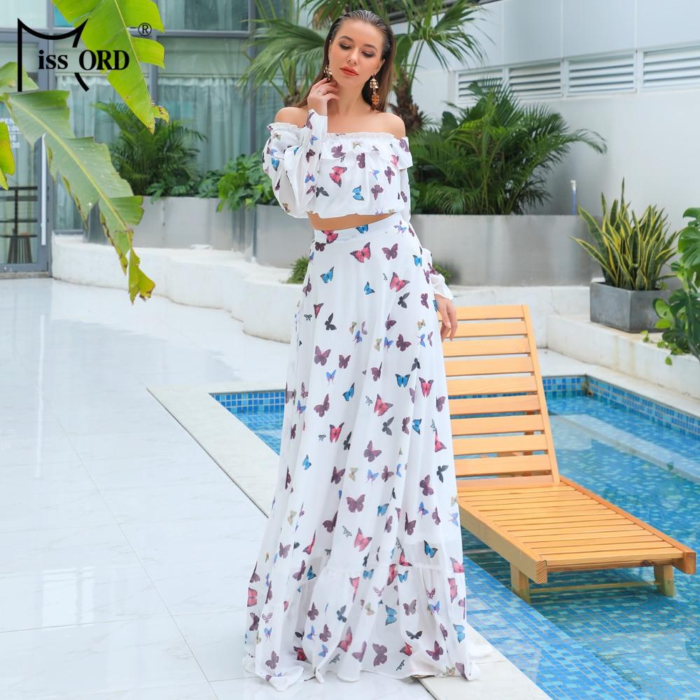 0196360f Missord 2019 Women Summer Sexy Off Shoulder Backless Print Dresses Female  Two Pcs Set Maxi Elegant Dress FT18834