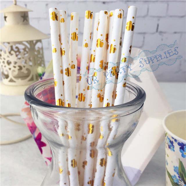 Mesa Principal Baby Shower.Us 15 0 125pcs Foil Gold Clover Paper Straws Masculine Birthday Wedding Decor Gender Neutral Baby Shower Winter Decorations Glam Straws In