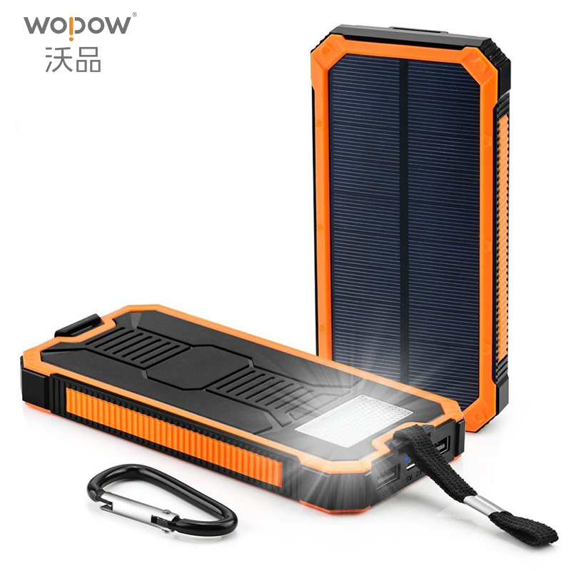 WOPOW Waterproof 10000mah Portable <font><b>Solar</b></font> Charger External battery LED lighting outdoor Charging PowerBank for Cell phone