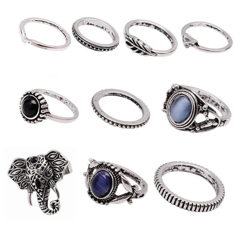Punk Vintage Black Blue Rhinestone ชุดสตรี Boho แกะสลัก Silver Knuckle Midi แหวนเครื่องประดับ 4579 3285