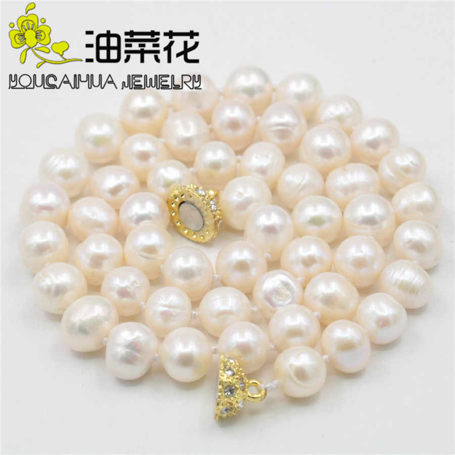"Hot New Charming Beautiful Fashion Jewelry Natural 8-9MM White Akoya Cultured Pearl Necklace Hand Made 18"" 14KGP Clasp AA sp0368"