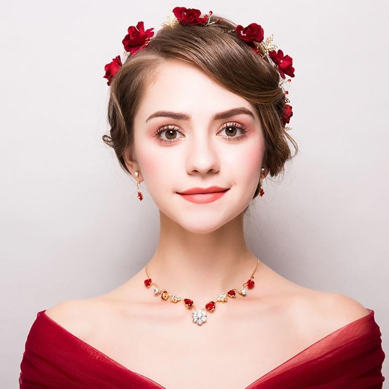 Red Exquisite Flower Bride Wedding Jewelry Set Classic Yarn Article Luxurious Ribbon Headband Rhinestone Necklace With Earrings rhinestone necklace with earrings set page 7