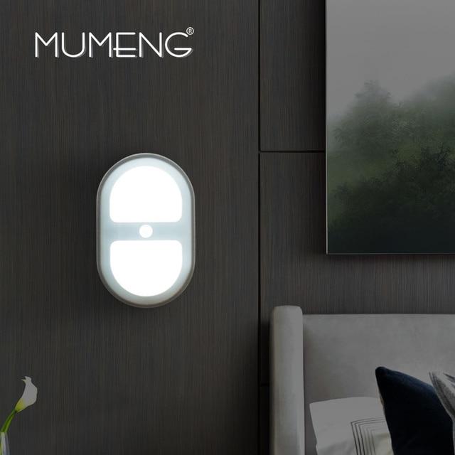 Mumeng датчик Движения Ночь свет Ребенок Лампа мини Кабинет Шкаф Ночная Питьевой Беспроводной Luminaria стикер Стены Лампы