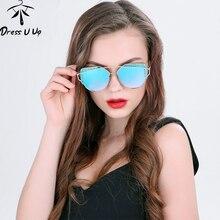 DRESSUUP 2017 Bola de Acero de Lujo Del Ojo de Gato gafas de Sol de Las Mujeres Diseñador de la Marca UV400 Gafas de Sol de Moda Gafas de Sol Feminino mujer