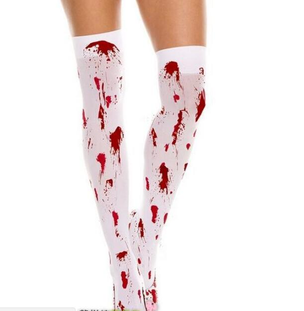 WHITE BLOOD STAINED STOCKINGS HORROR ZOMBIE  BLOOD HALLOWEEN FANCY PARTY DRESS
